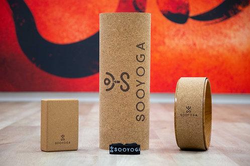 Yoga Block, Mat, Straps, Towel & Wheel Bundle