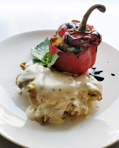 Lemon Thyme Chicken+Quinoa Stuffed Grilled Pepper