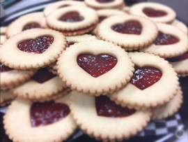 Raspberry Heart Shortbread Cookies