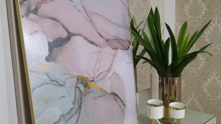 Quadro decorativo marmorizado Rosa