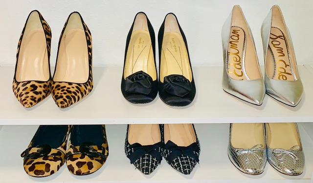 Closet organization by Jenny Dietsch at Getting it Done Organizing | shoe shelf showing heels and flat storage and organization