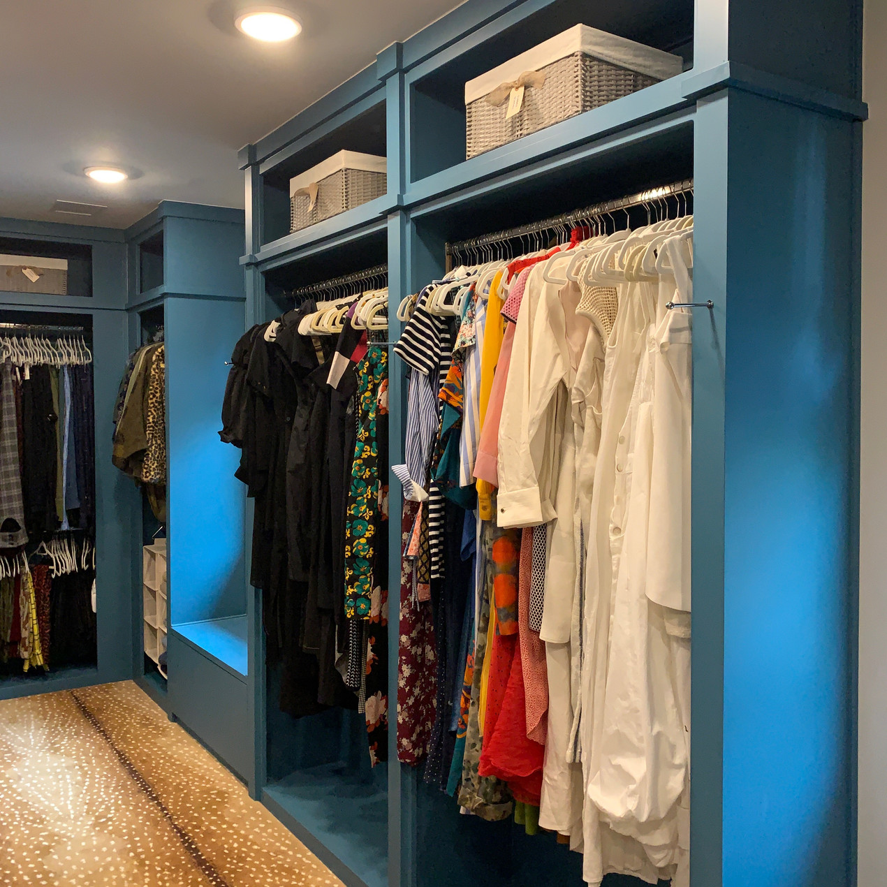 Closet organization by Jenny Dietsch at Getting it Done Organizing | Blue closet with matching velvet hangers