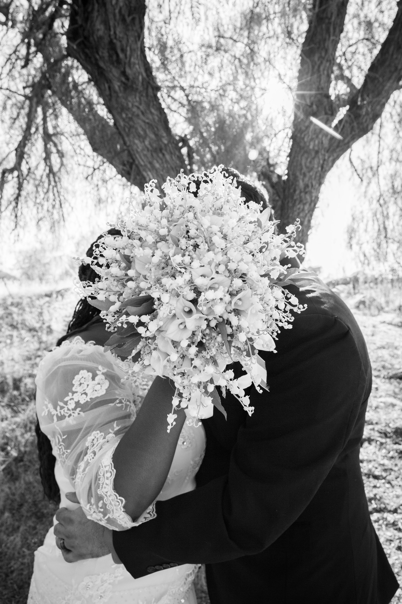 black and white babys breath bouquet