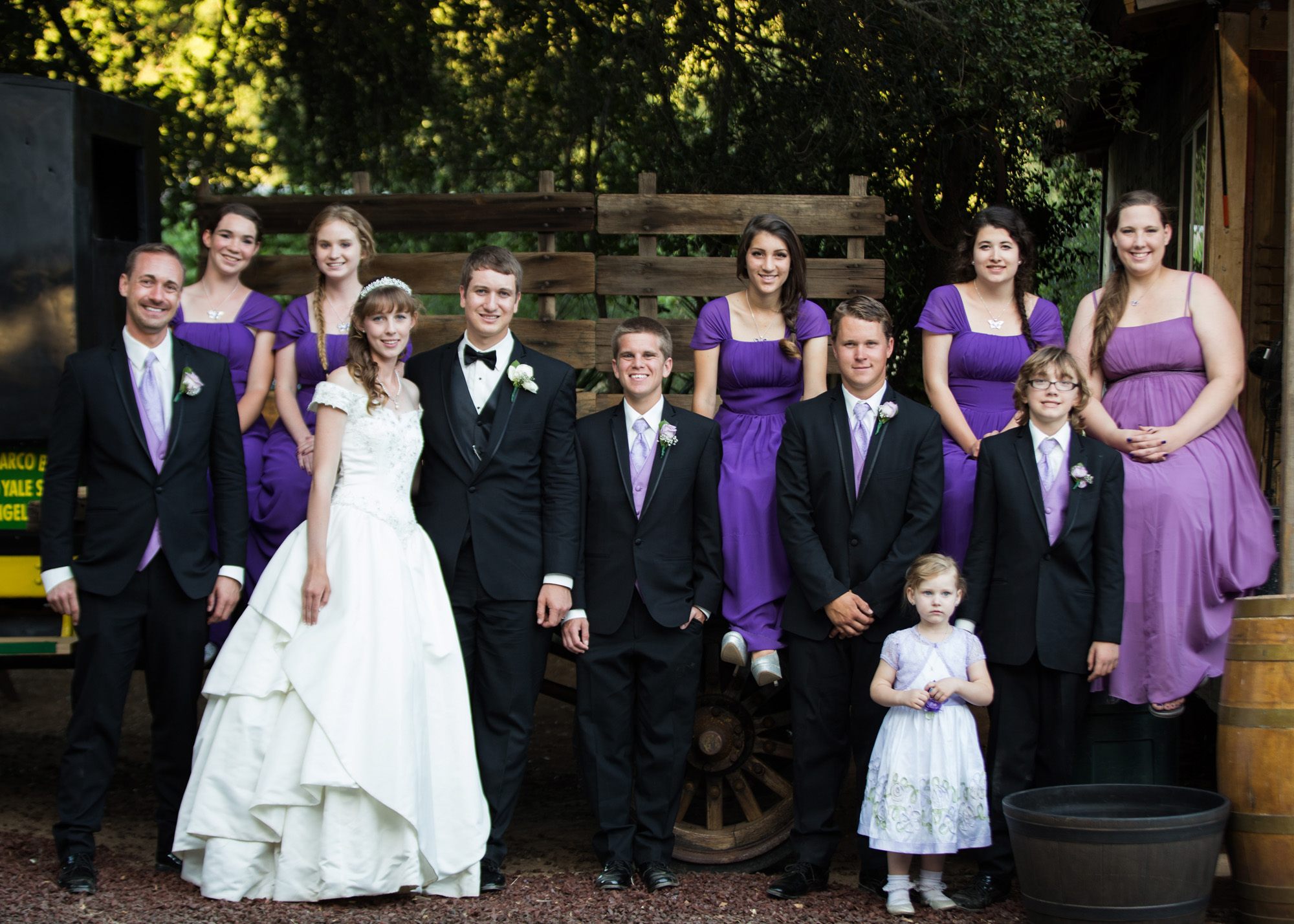bridal party in purple and cream