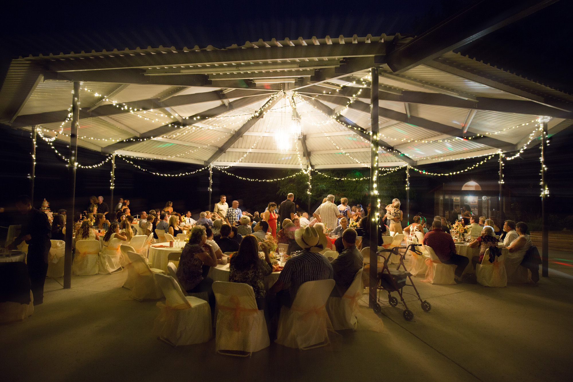 evening reception outdoor in tent