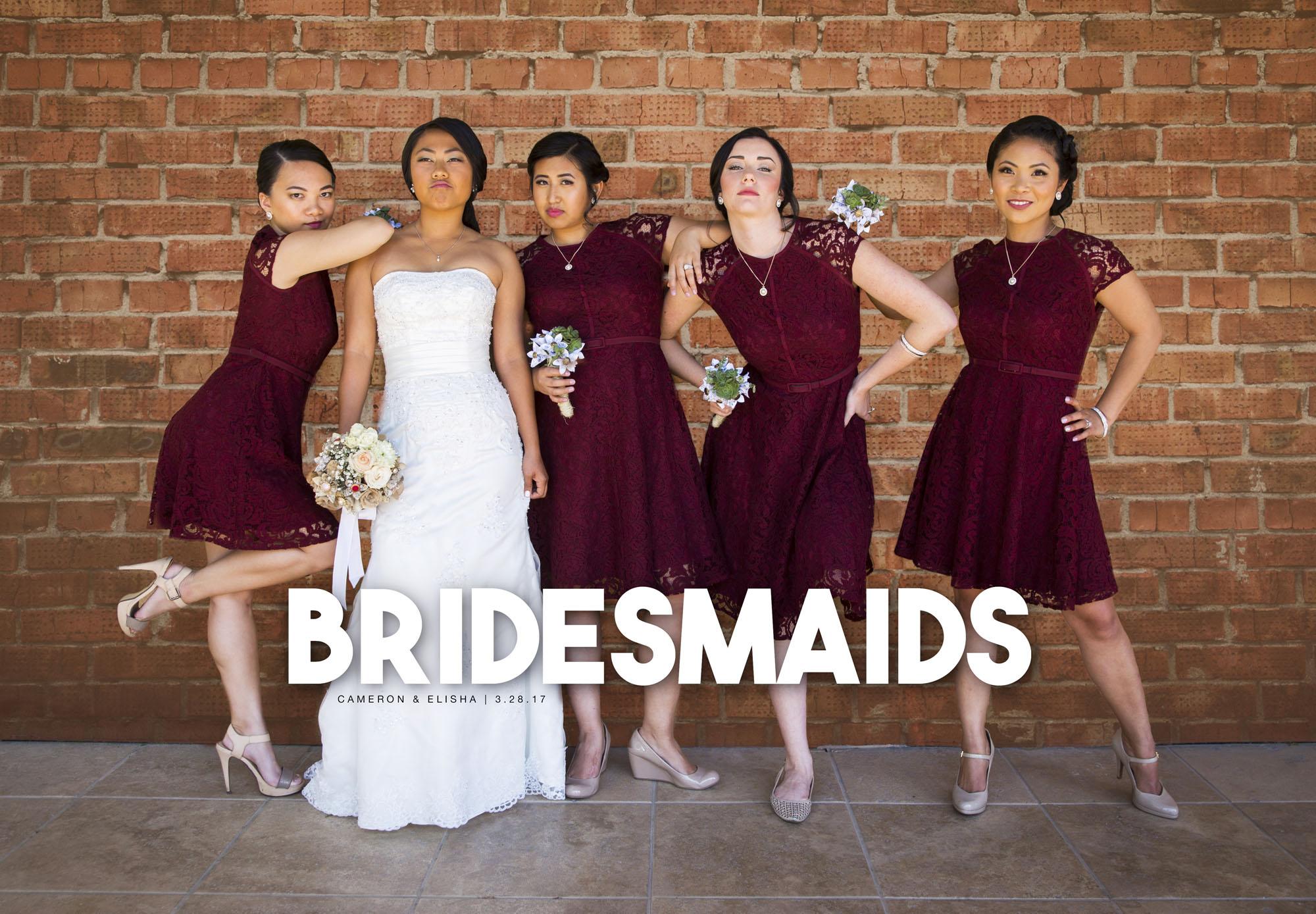 Bridesmaids look-alike wedding photo