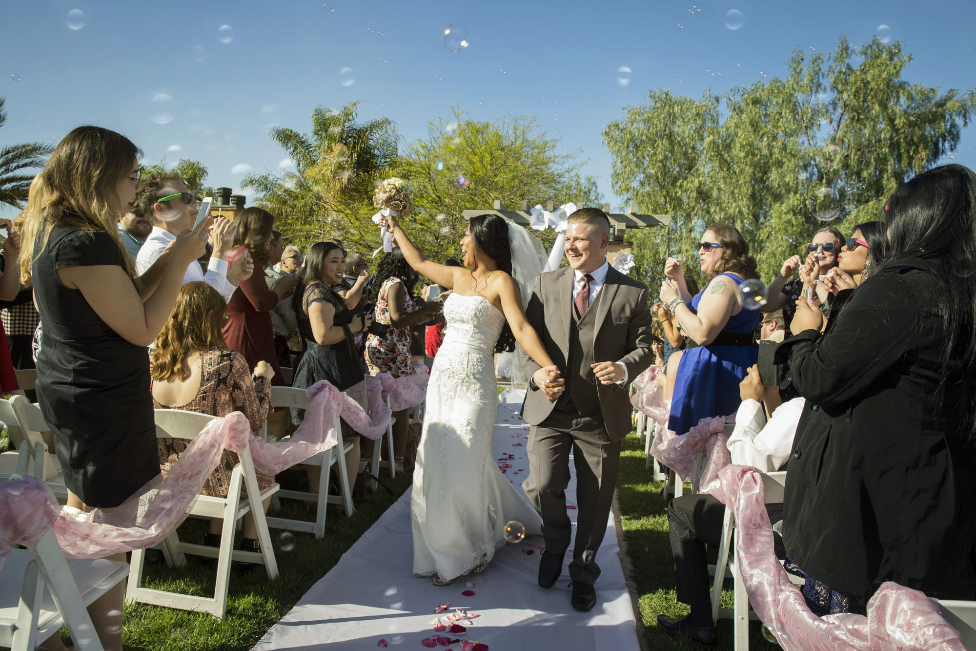 Bubble exit from ceremony