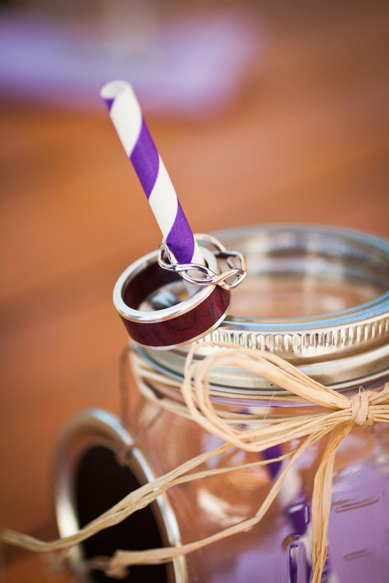 ring detail on mason jar favors