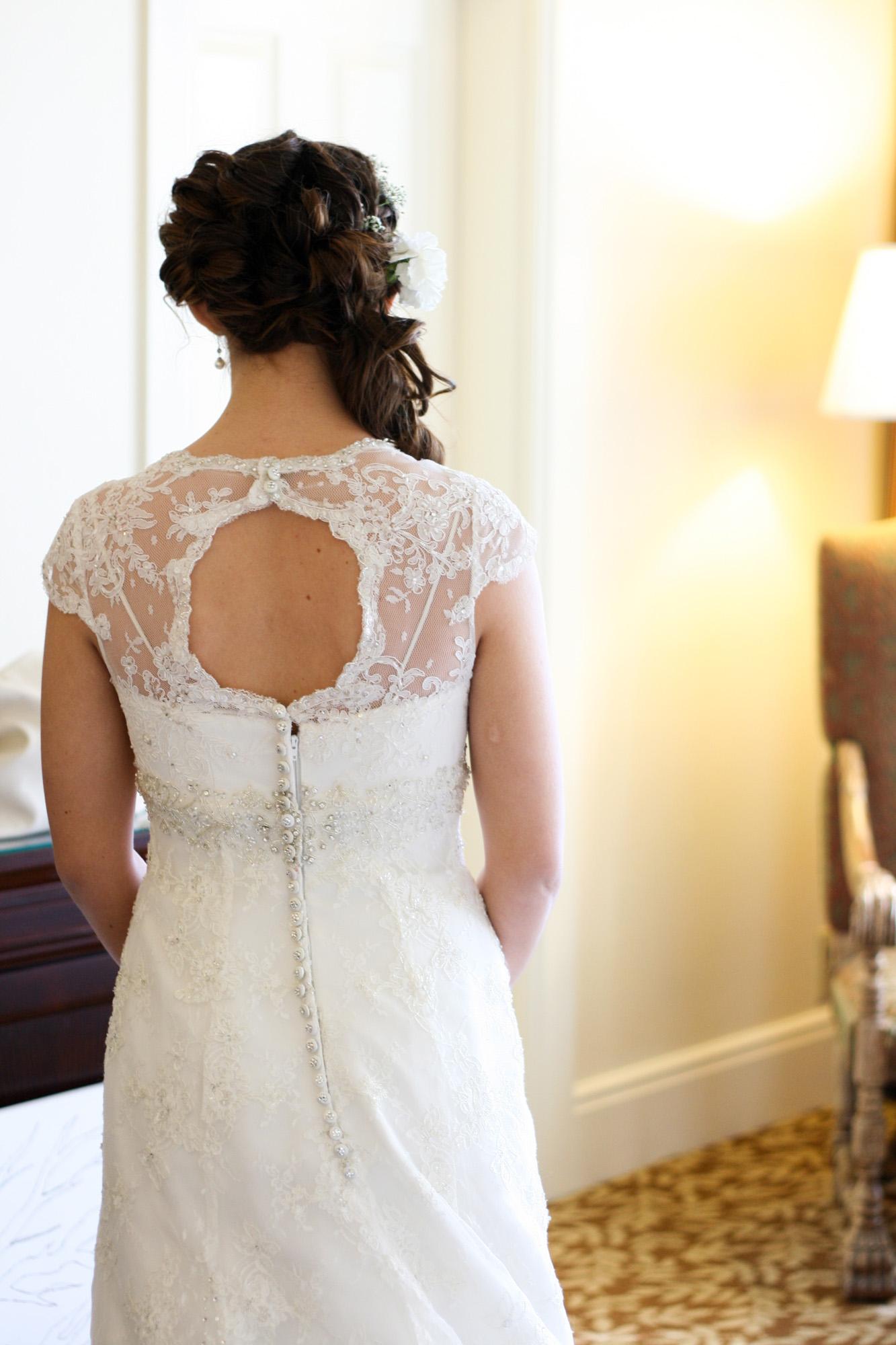 open back of dress detail