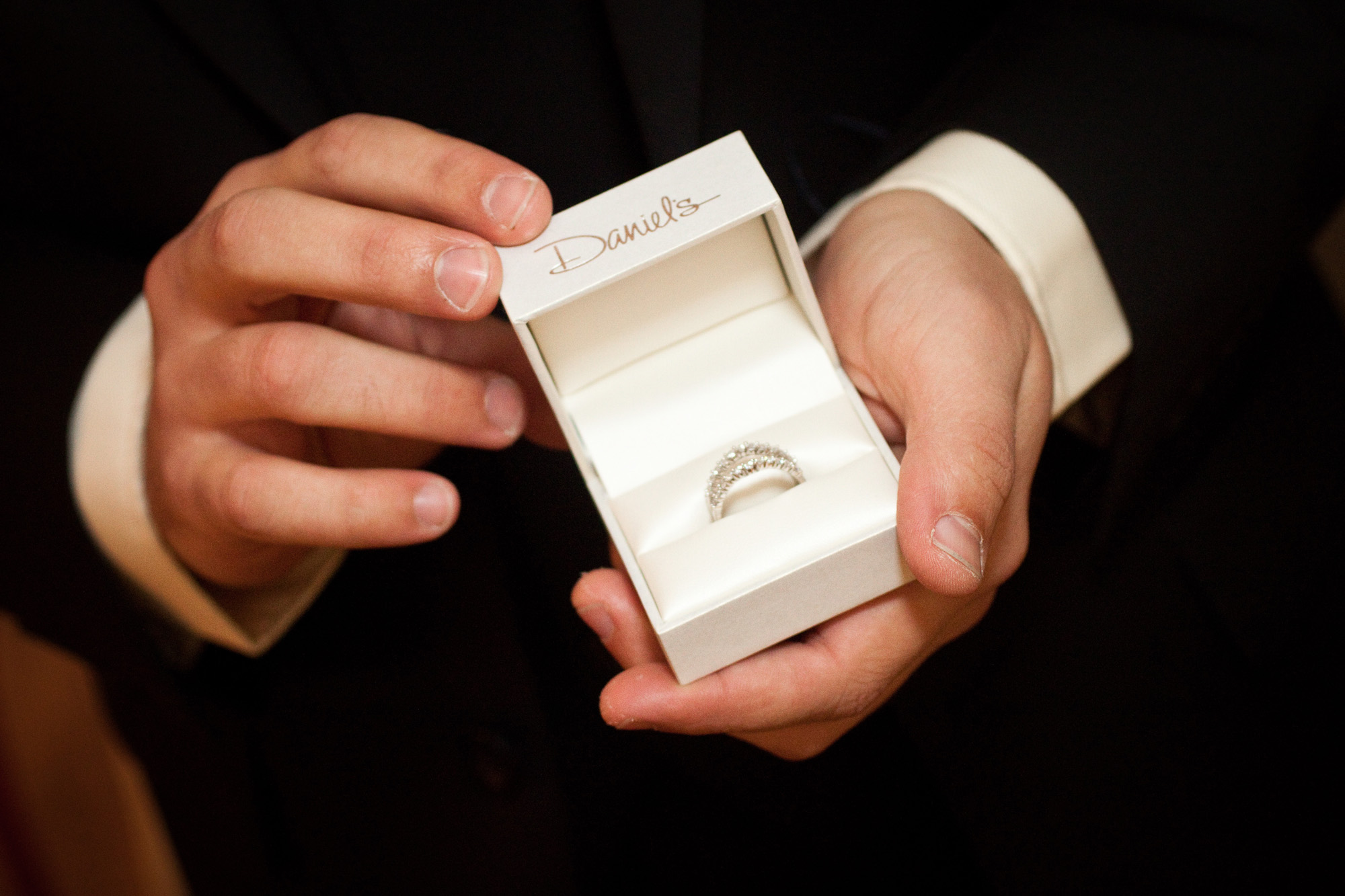 ring box in grooms hands
