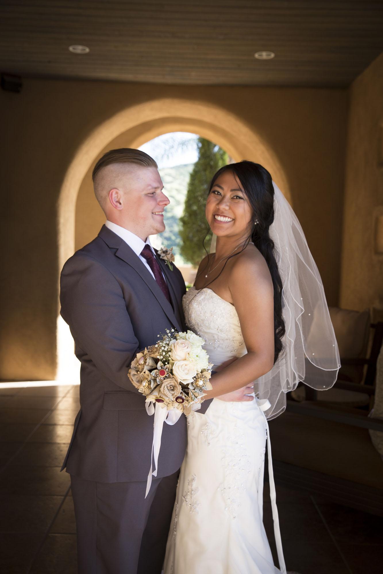 Archway classic wedding pose