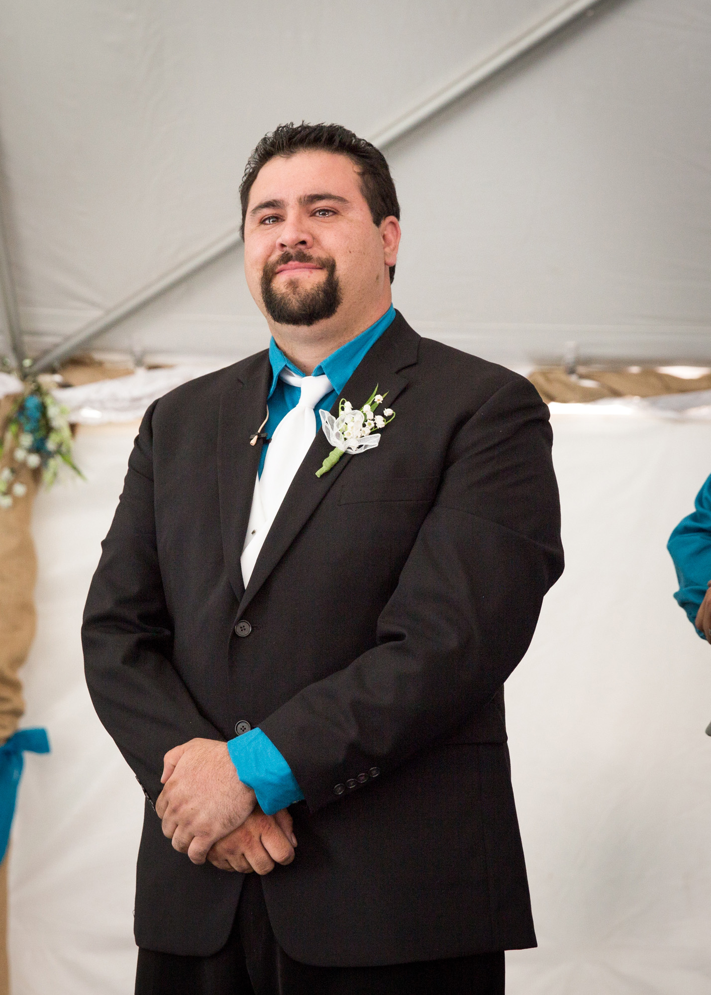grooms face first sees his bride