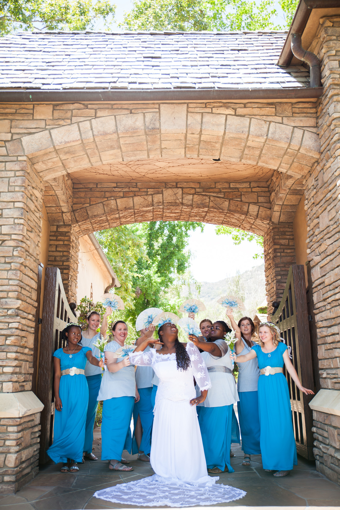 bride and bridesmaids silly photo