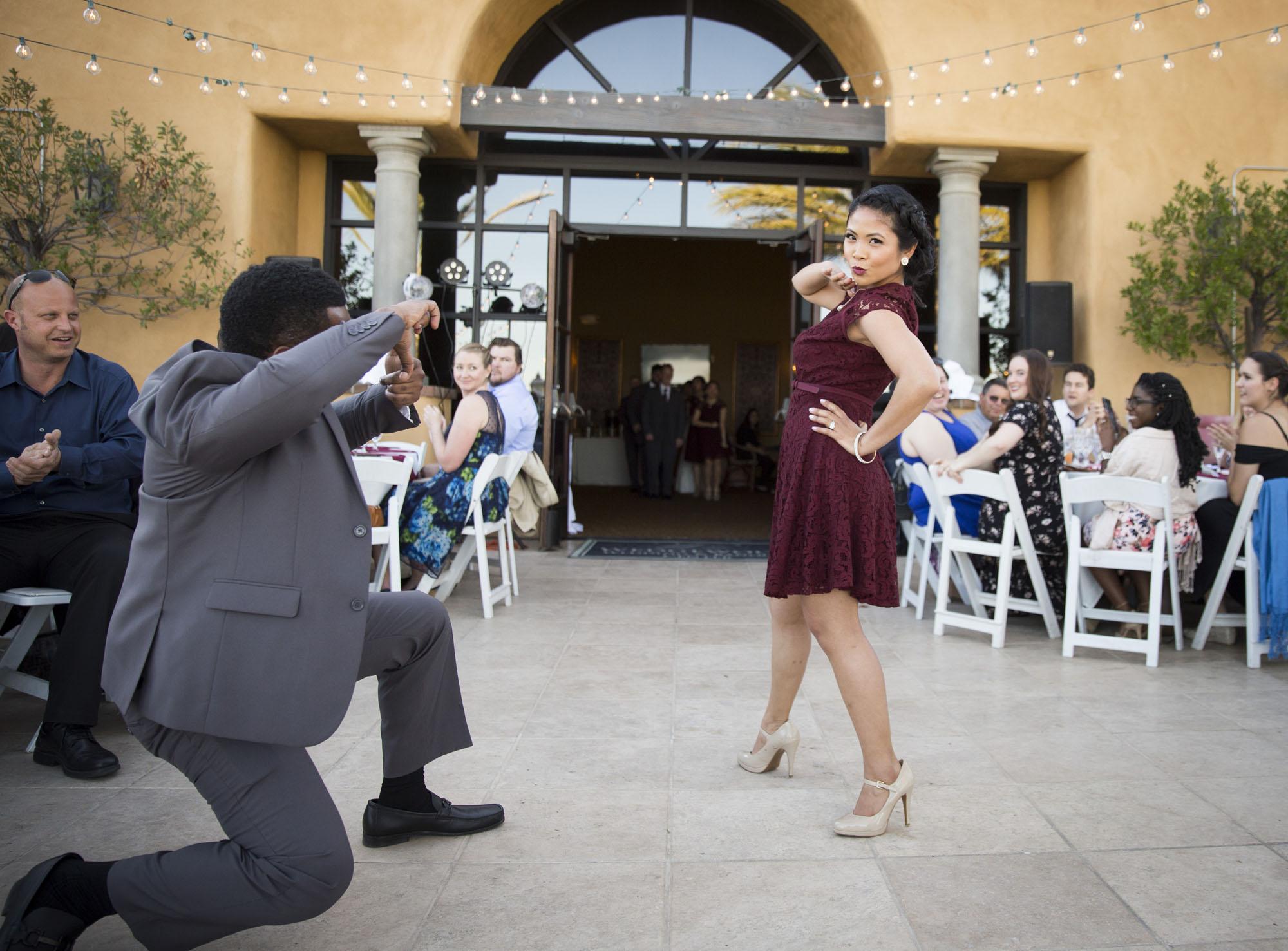 reception entrance bridal party pose