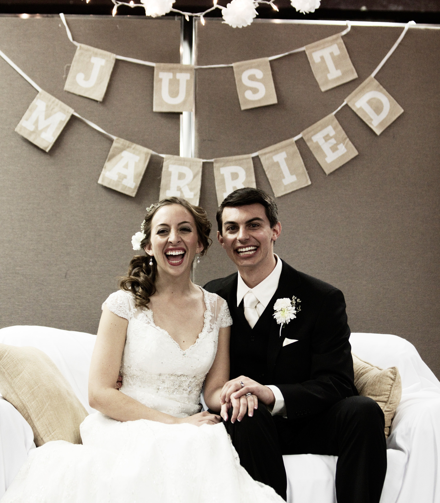 Just Married bridal couch