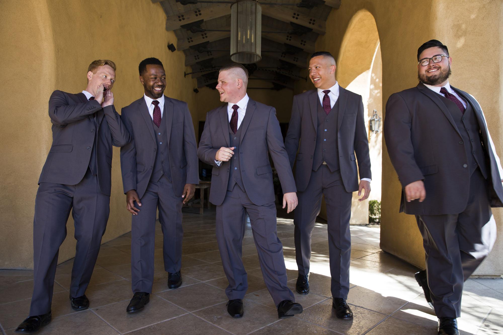 Funny groomsmen grey and purple