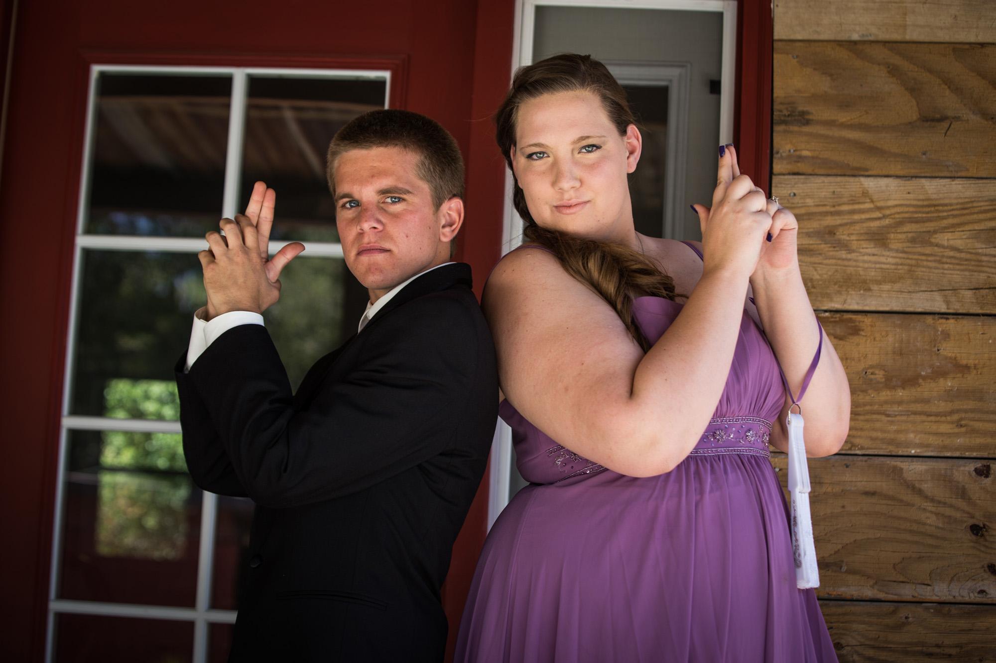 bridal party wearing purple
