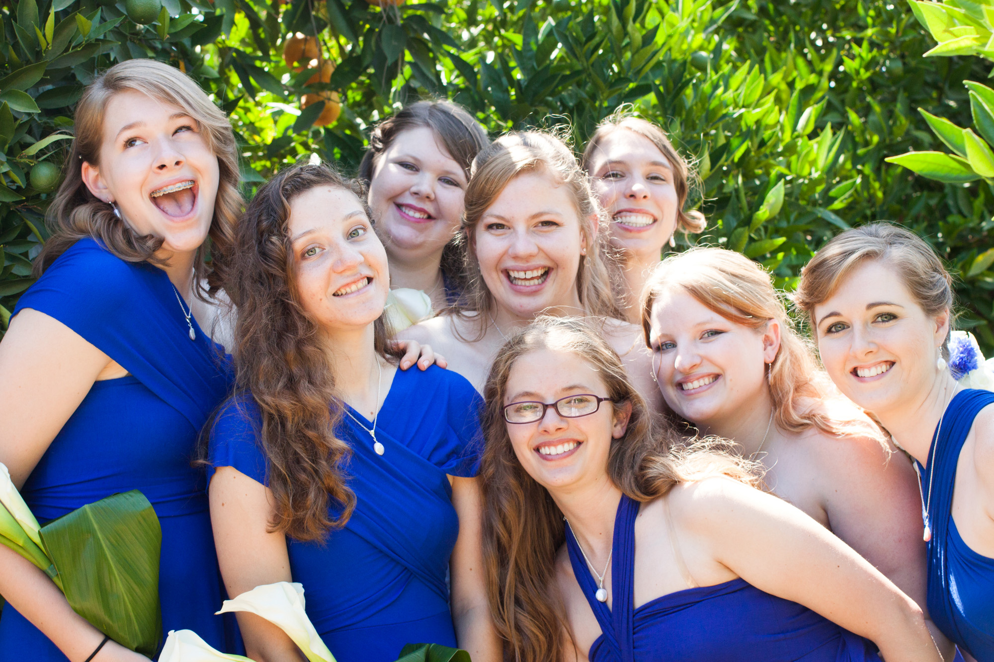 Bride and bridal party - silly