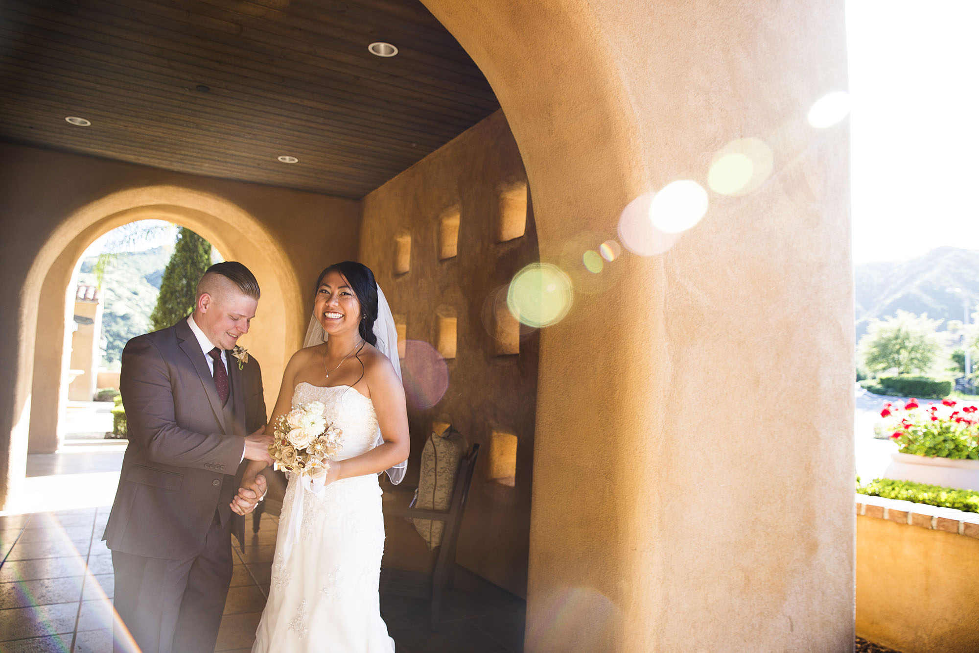 Archway couple after ceremony