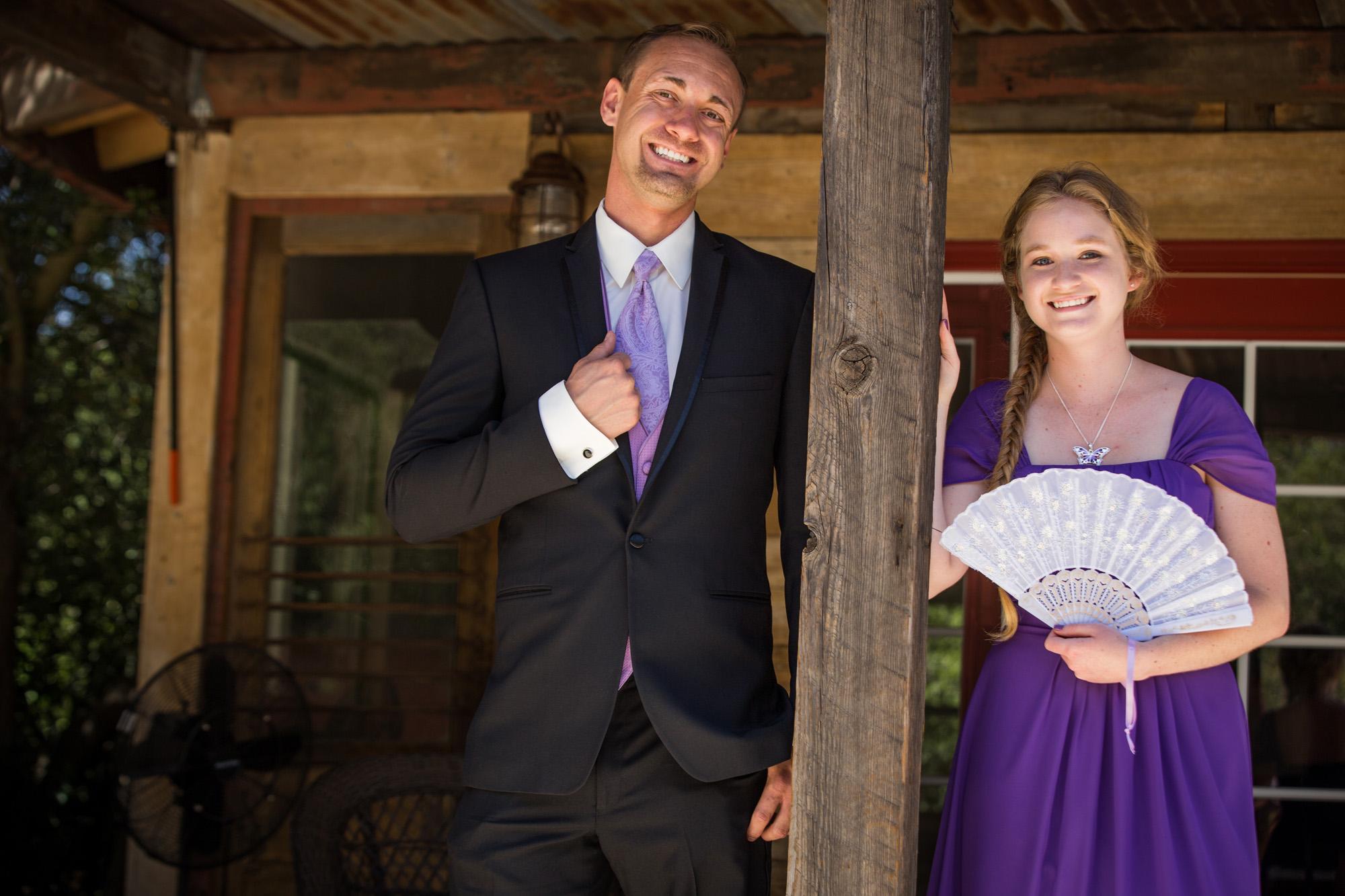 purple and cream outdoor wedding