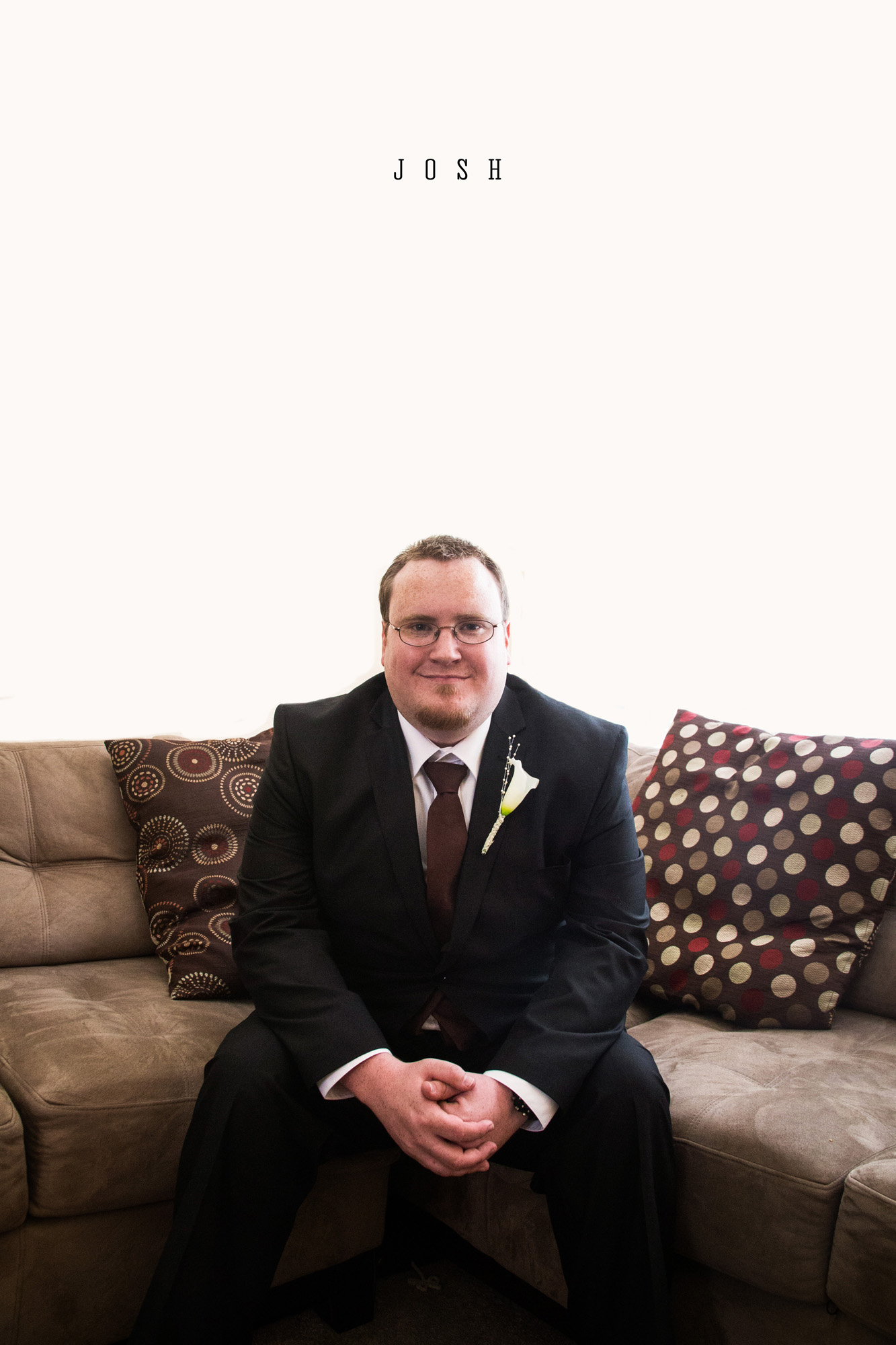 Best man portrait on couch