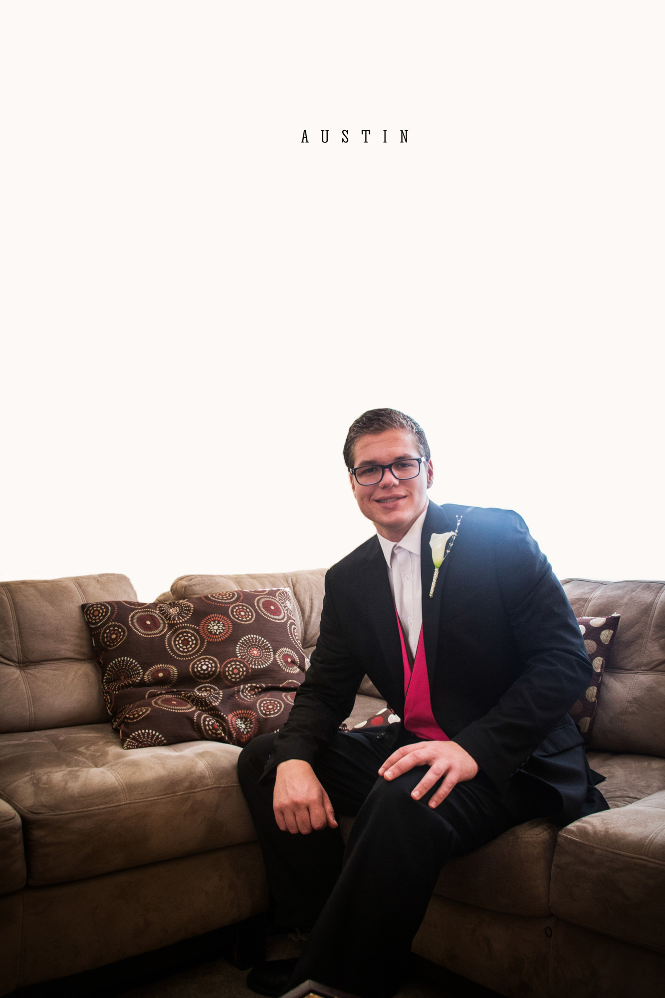Groomsman portrait on couch