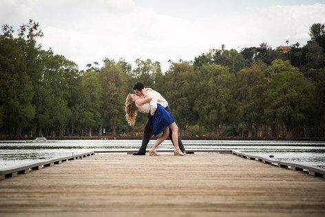 Dip Kiss on Dock engagement photo