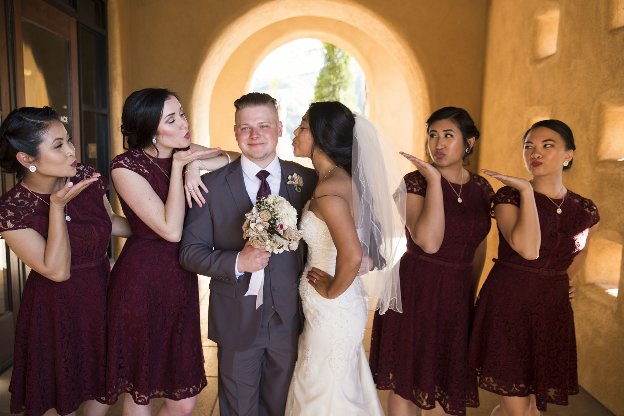 Kiss the groom! Funny wedding party