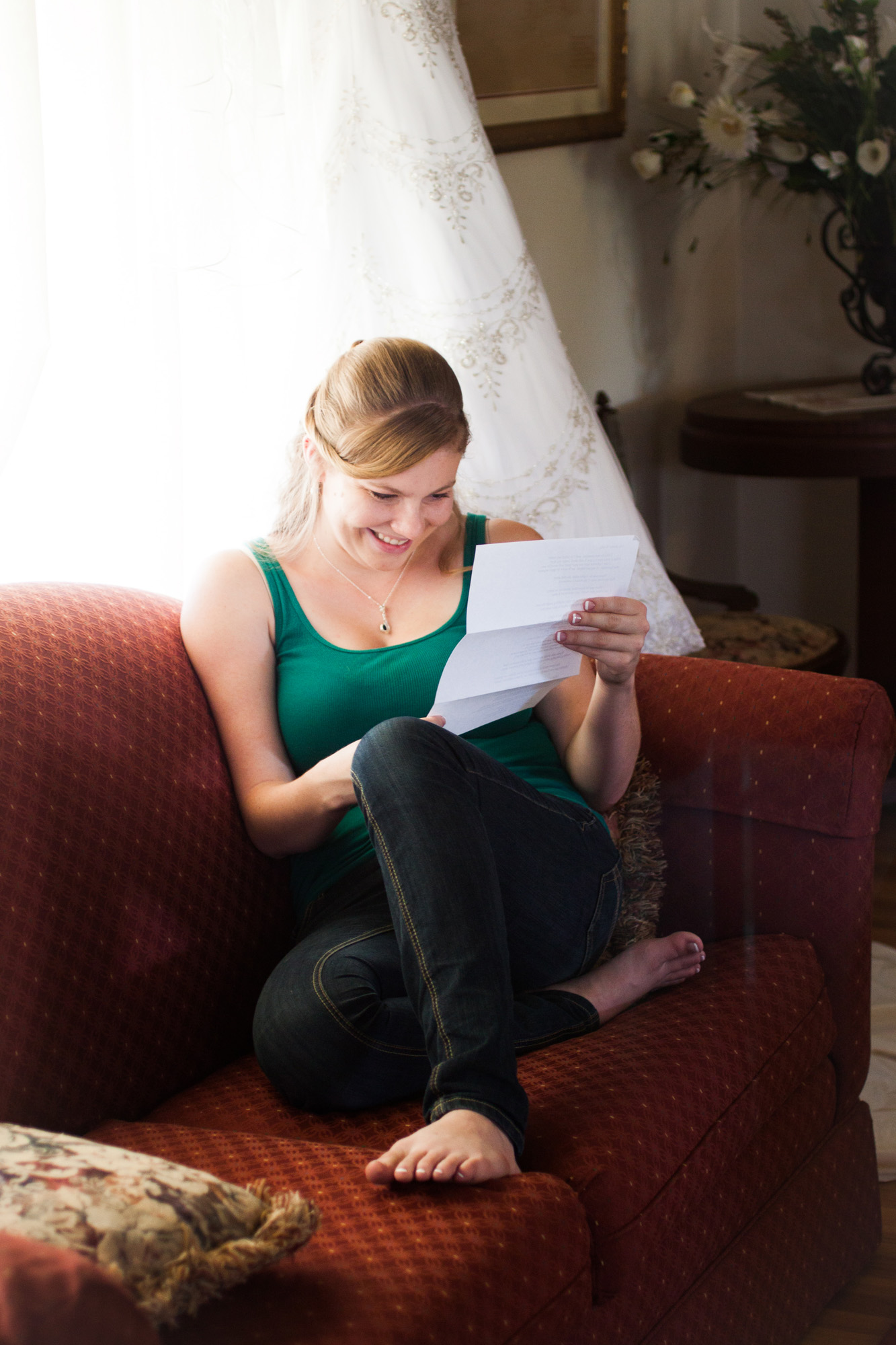 reading a love letter from groom