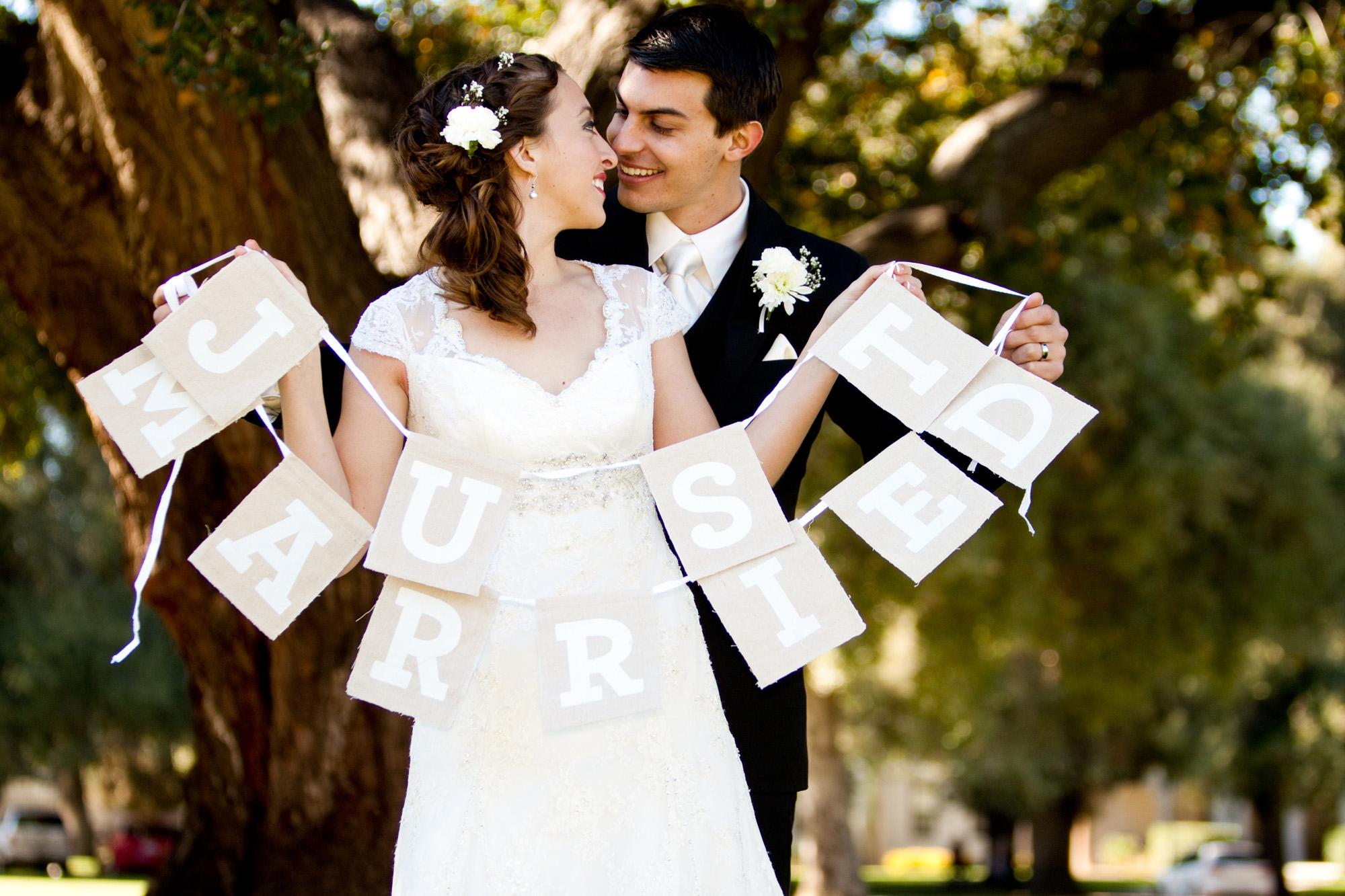 Just Married burlap banner wedding