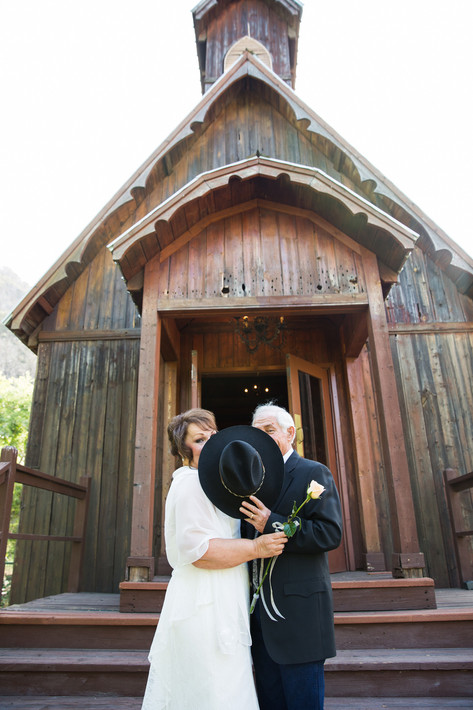 Cowboy kiss in the old chapel