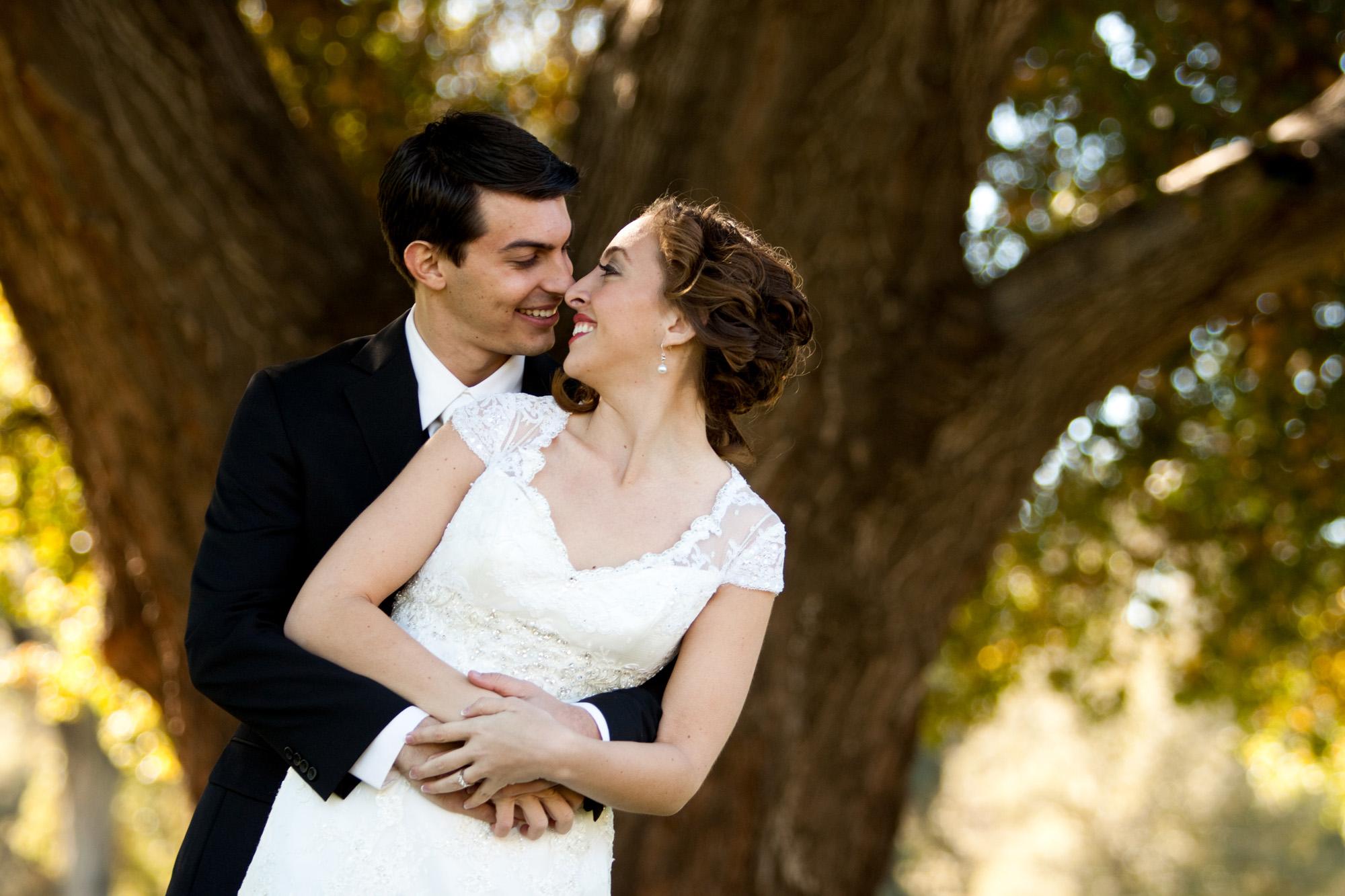 bride and groom romantic hug