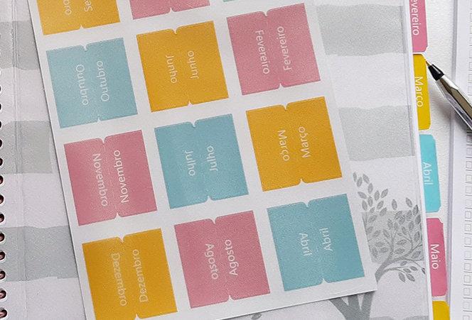 Abas Mensais Laminadas - Coloridas - Tabs Adesivo
