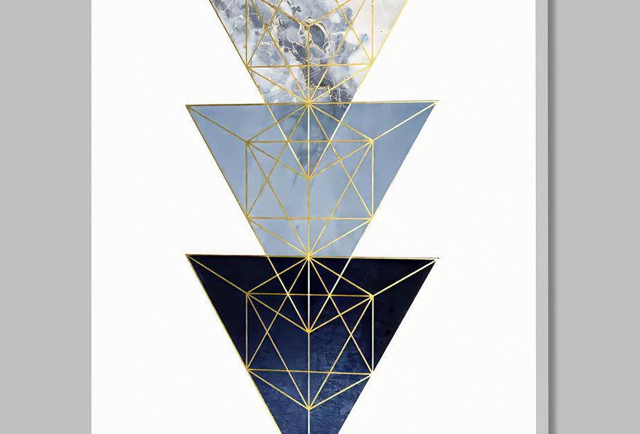Placa Decorativa Personalizada Geométrica Azul III