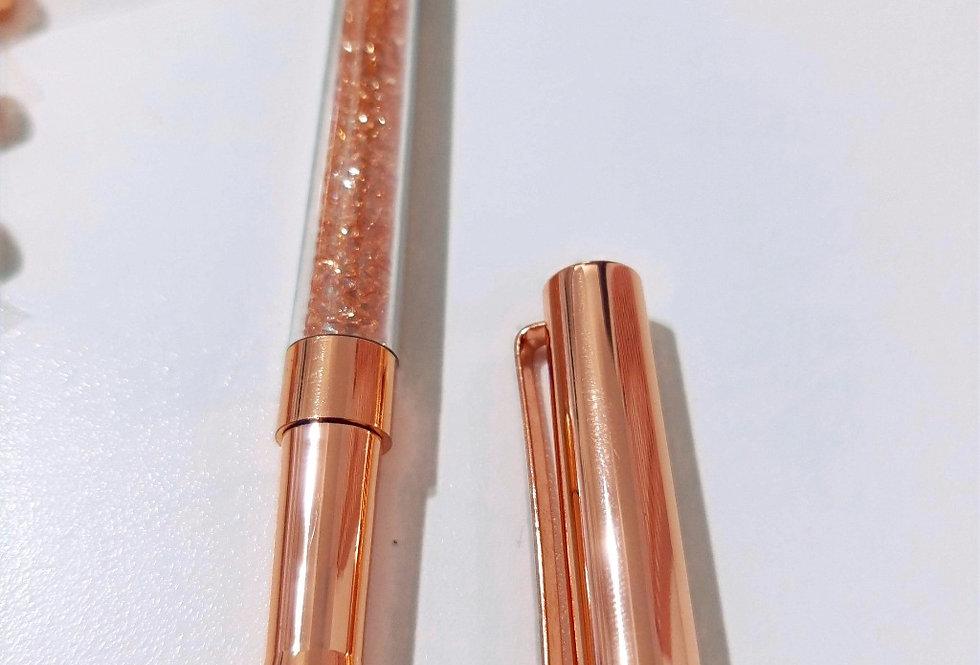 Caneta Luxo Glitter Rosé/Prata