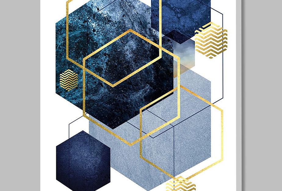 Placa Decorativa Personalizada Geométrica Azul I