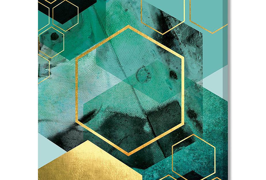 Placa Decorativa Personalizada Geométrica Turquesa