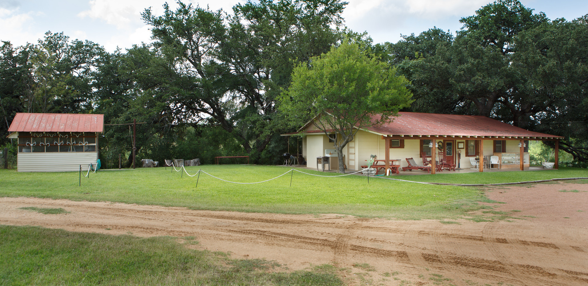 View of lodge and deer shed for hunters in Llano, Texas