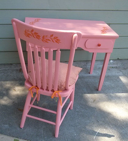 Pink,chair,desk,reclaimed