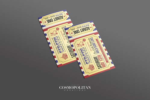 A Night at the Circus Ticket-Style Party Invitations
