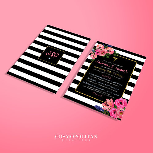 Front and Back Kate Spade Themed Event Invitation or Announcement
