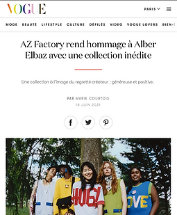 AZ Factory Free TO collection launch by Alber Elbaz Vogue press article