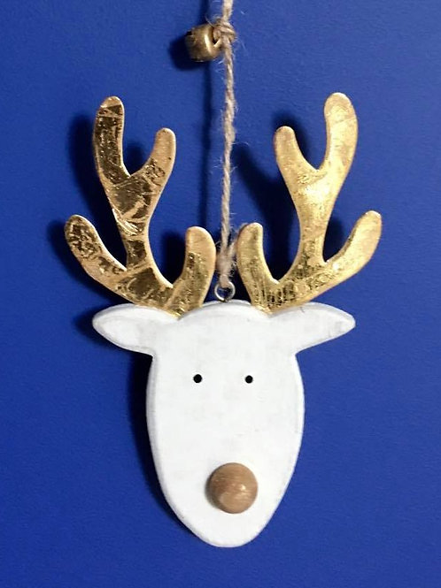 Wooden Reindeer on String with Bells
