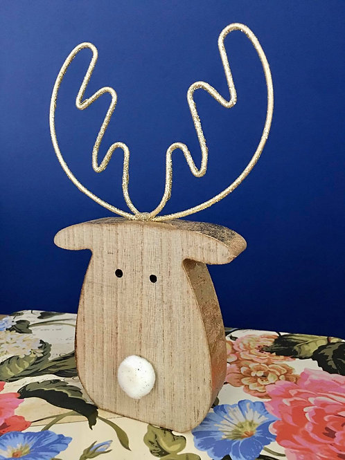 Wooden Reindeer Head with Glitz Antlers