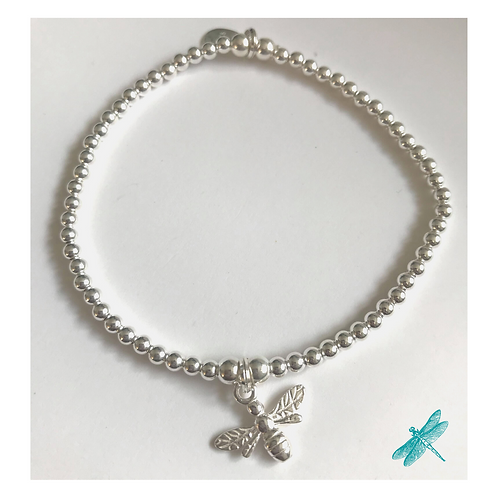 Bumble Bee Sterling Silver Charm Bracelet