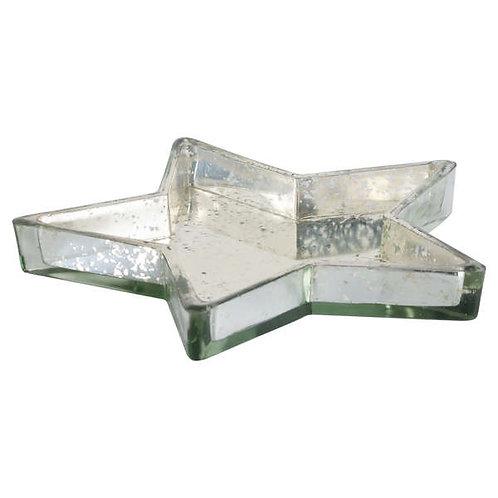 Silver Distressed Display Star Dish