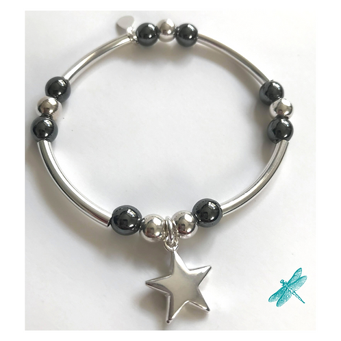 Large Star Sterling Silver & Pewter Charm Bracelet