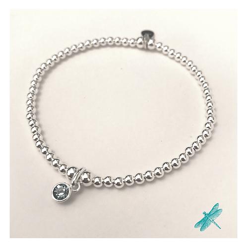 Aquamarine Sterling Silver Charm Bracelet