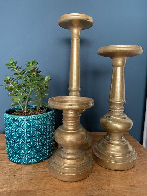 Antique Brass Effect Candle Holder (Set 3)