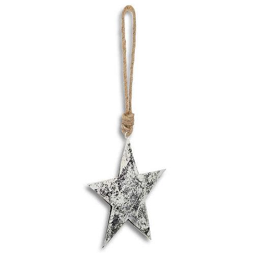 Silver Metallic Hanging Star Decoration